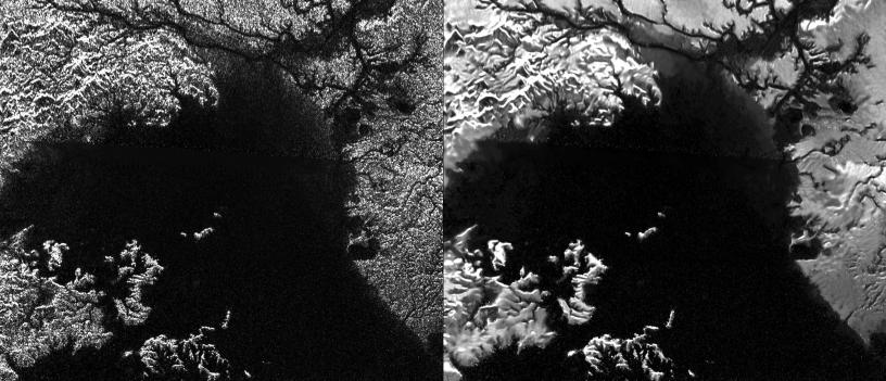Ligeia Mare, a methane lake on Titan, complete with channels and tributaries. Image: NASA/JPL